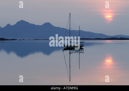 Isles of Rum Sunset in the Inner Hebrides Inverness-shire Highland Region Scotland.  XPL 6346 - Stock Photo