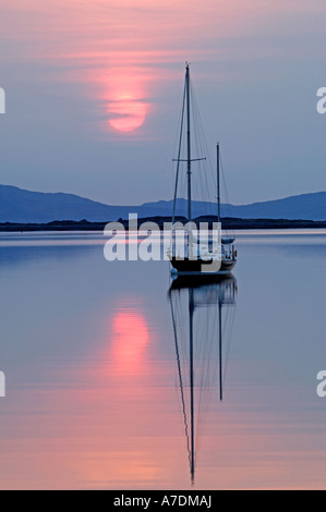 Isles of Rum Sunset in the Inner Hebrides Inverness-shire Highland Region Scotland.   XPL 6348 - Stock Photo