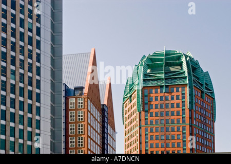 Modern business architecture in The Hague with blue sky background Den Haag Holland - Stock Photo