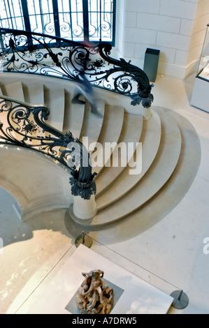 Paris France, Interior Winding Marble Stairway in Museum the 'Petit Palais' 'Musée des Beaux Arts de la Ville de - Stock Photo