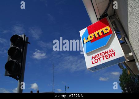 May 2006 Navan County Meath A National Lottery Ireland s State run Lottery Lotto sign outside a newsagents on Brews - Stock Photo