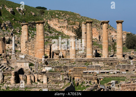 Cyrene, Shahat, Libya. Temple of Apollo, 2nd. Century A. D. Roman Reconstruction of a Greek Doric style temple. - Stock Photo