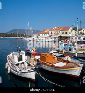 Harbour in Fiskardo, Kefalonia, Ionian Islands, Greece - Stock Photo