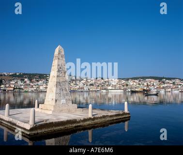 Monument by the Drapano Bridge, Argostoli (island capital), Kefalonia, Ionian Islands, Greece - Stock Photo