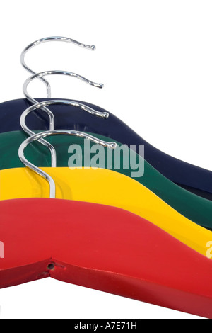 Colorful clotheshangers isolated on white - Stock Photo