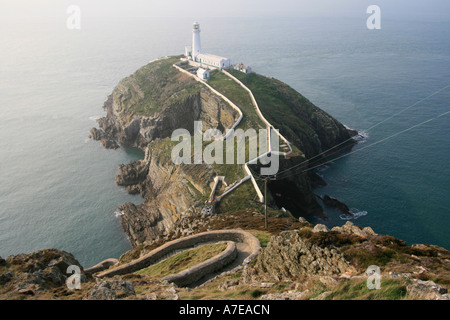 south stack lighthouse isle of anglesey north wales uk gb - Stock Photo