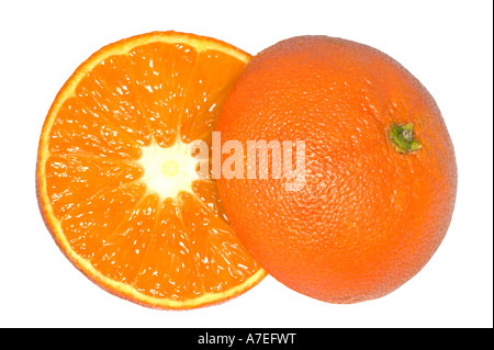 Ripe juicy orange cut in half and isolated on white - Stock Photo