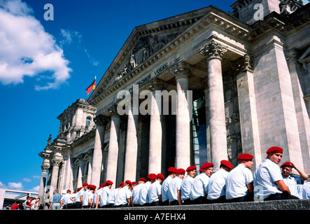 Sept 02, 2002 - German soldiers on leave waiting for admission to the Reichstag in Berlin. - Stock Photo