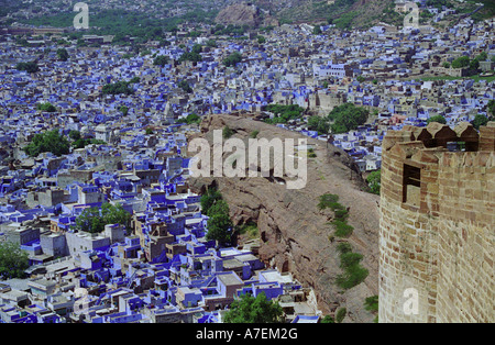aerial view of the blue city Jodhpur from mehrangarh fort rajasthan india - Stock Photo