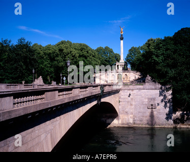 Luitpold Bridge over the Isar River and Angel of Peace (Friedensengel) statue in the background  Munich Germany - Stock Photo