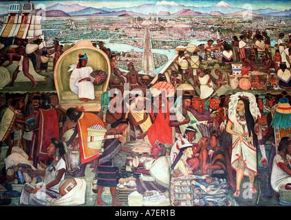 Mexico. La Gran Tenochtitlan/The Great City of Tenochtitlan, 1945. Diego Rivera nmurals in the Presidential Palace. - Stock Photo