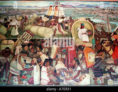 Mexico. La Gran Tenochtitlan/The Great City of Tenochtitlan, 1945. Murals of Diego Rivera in the Presidential Palace. - Stock Photo