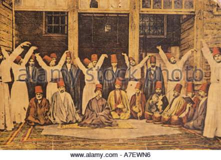 Painting of Dervishes performing for the Sultans in Istanbul - Stock Photo