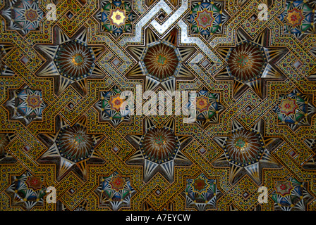 Fine arts colourful decoration of a wooden ceiling in mosque Hassan II Casablanca Morocco - Stock Photo