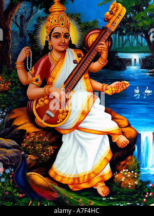 Saraswati Hindu Goddess of Learning Wisdom Music and the Arts ...