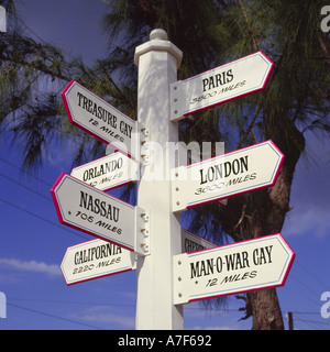 White signpost on Green Turtle Cay with seven pointers to assorted locations and places on Abaco Island in The Bahamas - Stock Photo