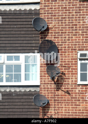 Hampshire part of block of flats with satellite television aerials on walls beside windows - Stock Photo