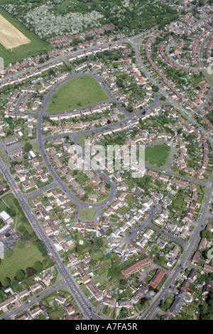 High level oblique aerial Foxhays Road Hawkchurch Road Holberton Road in Whistley Wood Reading RG2 Berkshire England - Stock Photo