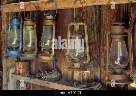 Lanterns in the Firehouse on Main Street in the ghost town of Bodie, California, USA - Stock Photo