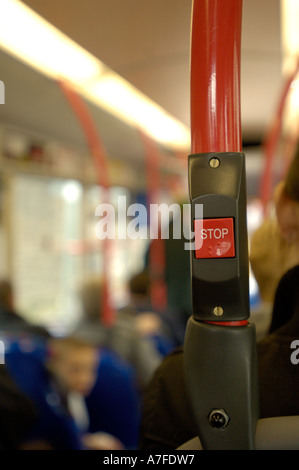 Stop button on a public transport bus in Edinburgh - Stock Photo