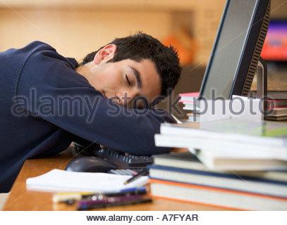 A teenage boy asleep at a computer - Stock Photo