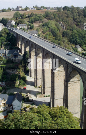 CAR VIADUCT OVER  RANCE  RIVER  DINAN  BRITTANY FRANCE - Stock Photo