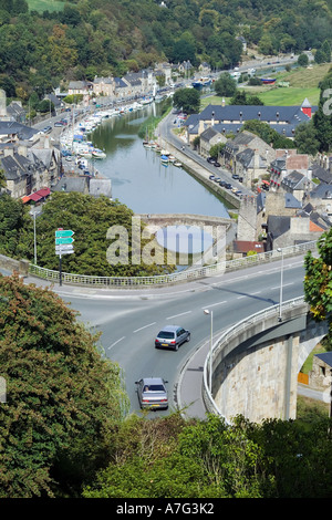ROAD AND HARBOUR  DINAN  BRITTANY FRANCE - Stock Photo