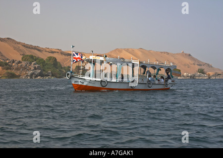 Boats that take tourists to the Temple of Philae - Stock Photo