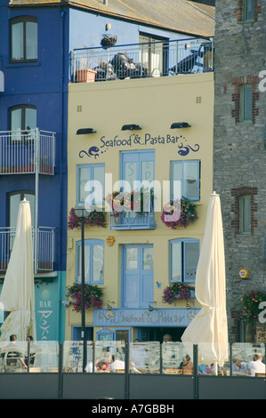 Restaurant and bar in the Barbican alongside Sutton Harbour Plymouth Devon Great Britain - Stock Photo