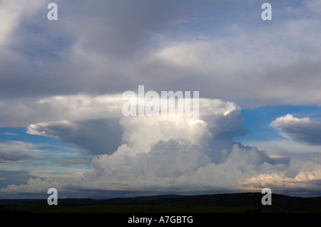 About 150 km north of Brasilia on the way to the Chapada dos Veadeiros national park was this mass of cumulonimbus - Stock Photo