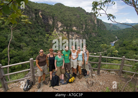 A group of european female tourists and guide in The Chapada dos Veadeiros National Park of Brazil. - Stock Photo