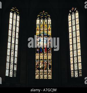 Glasfenster in der Stiftskirche Sankt Amandus, Bad Urach, Schwaebische Alb, Baden-Wuerttemberg - Stock Photo
