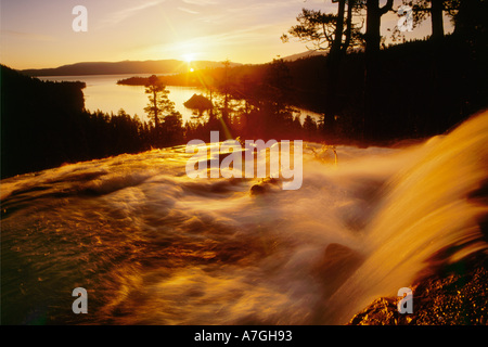 Waterfall at sunrise in Eagle Creek above Emerald Bay, Lake Tahoe, CA. - Stock Photo
