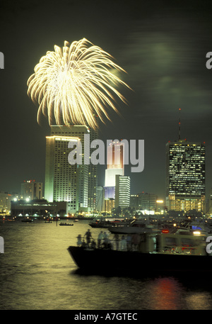 N.A., USA, Florida, Miami. July 4th fireworks over downtown - Stock Photo
