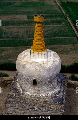 chorten, Yumbu Lakang Palace, First Palace, Buddhist monastery, near city of Tsedang, Yarlung Valley, Tibet Autonomous - Stock Photo