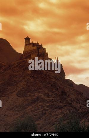 Yumbu Lakang Palace, First Palace, Buddhist monastery, near city of Tsedang, Yarlung Valley, Tibet Autonomous Region, - Stock Photo