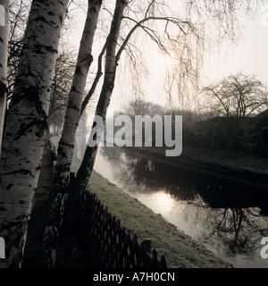 Winterstimmung an der Niers in Wachtendonk, Niederrhein, Nordrhein-Westfalen - Stock Photo