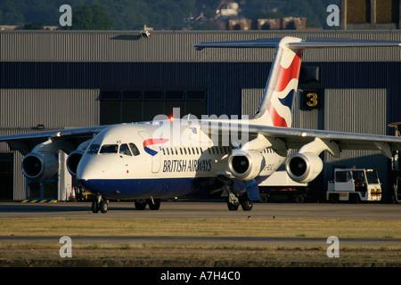 BAe 146 British Airways at London City Airport 2004 - Stock Photo