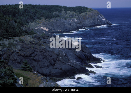 North America, US, ME, Surf crashes on the cliffs. - Stock Photo