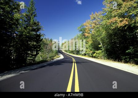NA, USA, Maine. Coastal Maine; Route 182 in the fall.