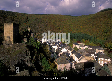 Castle Esch sur Sure Diekirch Luxembourg Europe - Stock Photo