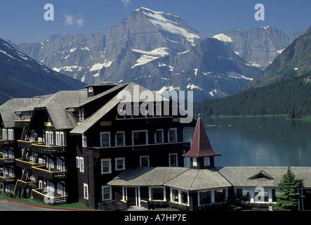 NA, USA, Montana, Glacier National Park. Many Glacier Hotel at Swiftcurrent Lake
