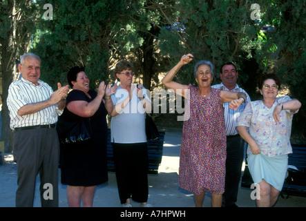 Spaniards, Spanish people, mature, men and women, dancing, Flamenco dance, Flamenco dancer, Flamenco dancers, Granada, - Stock Photo