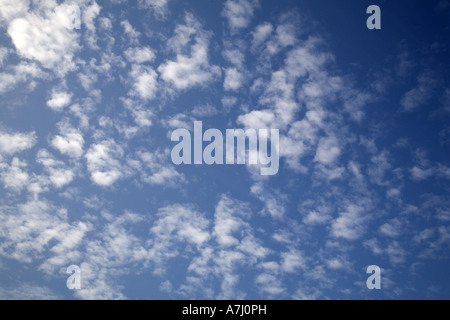 Blue sky with small white fluffy clouds, Holland - Stock Photo
