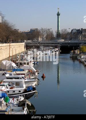 Paris france moored peniche boat restaurant on seine - Restaurant seine port ...