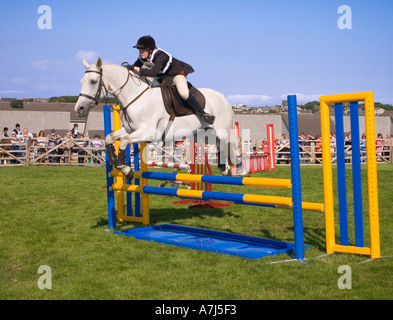 dh County Show KIRKWALL ORKNEY White pony Horse jumping competition event over fence ground ring girl uk - Stock Photo