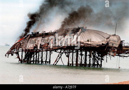 The concert hall on Brightons West Pier on fire after arsonists attacked it for the 2nd time in  5 months - Stock Photo