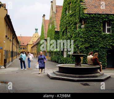 D-Augsburg, Lech, Swabia, Bavaria, Fuggerei, the Worlds oldest suburban colony founded in 1516 by Jacob Fugger The - Stock Photo