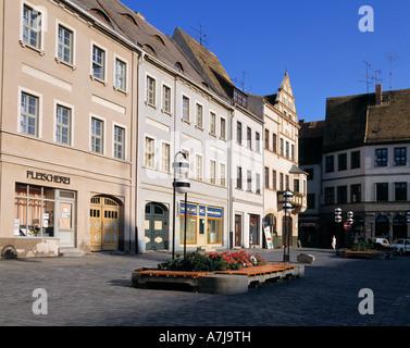 Abendlicht, Buergerhaeuser am Marktplatz in Torgau an der Elbe, Sachsen - Stock Photo