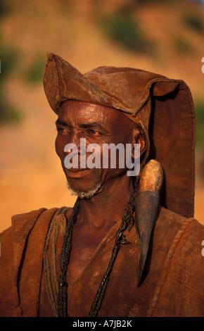traditional hunter, Telí village, Dogon Country, Mali - Stock Photo